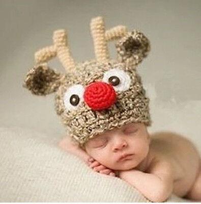 Newborn Baby Girl Boys Crochet Knit Costume Photography Prop Outfits Deer shape