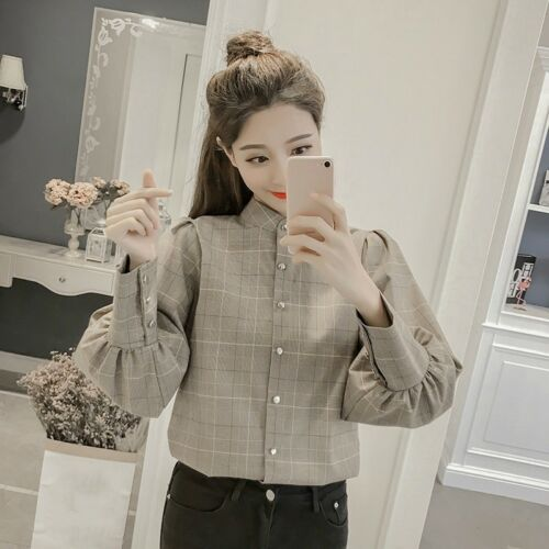 Women Puff Sleeve Shirt Houndstooth Plaid Blouse Top Vintage Bowknot Retro New