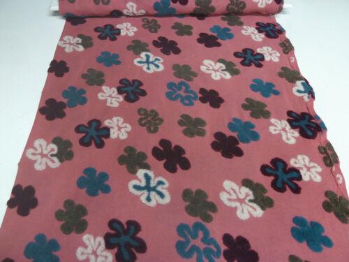 Tissu Coton Jersey marquetterie de laine-Tops fleurs vieux rose Petrol Kaki Bordeaux