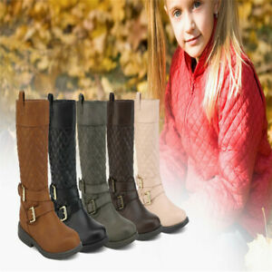 Girl/'s Kid Youth Baby Toddler Boot Zipper Flat Heel Buckle Slouch Mid Calf Shoes