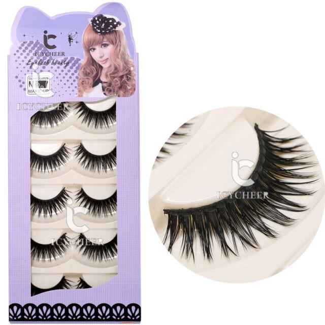 Makeup False Eyelashes 5 Pairs Eye Extension Lashes Long Thick Party Salon Soft