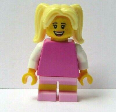 LEGO Female Girl Minifigure Figure Orange Outfit Blonde Curly Wavy Ponytail Hair