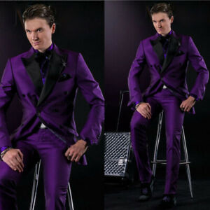 Men-039-s-Wedding-Prom-Suits-Groom-Tuxedos-Best-Man-Suits-Purple-Satin-Formal-Suits