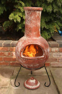 Image Is Loading Shabby Chic Rustic Clay Chimenea Patio Heater Clay