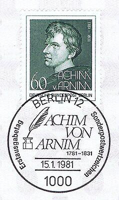 Berlin 1981: Achim Von Arnim Nr. 637 Mit Sauberem Ersttags-sonderstempel! 1a!