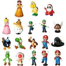 "18 pcs Super Mario Bros 1~2.5"" Action Figure Doll Lot Playset Figurine Kids Gift"