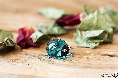 Handmade Glass Turquoise Ladybird Ladybug Little Gloss Garden Decor Ornament
