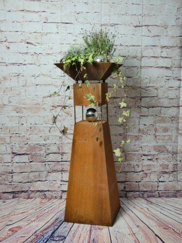 Säule Modern Edelrost mit Edelstahl Kugeln Rost Garten Dekoration Stele