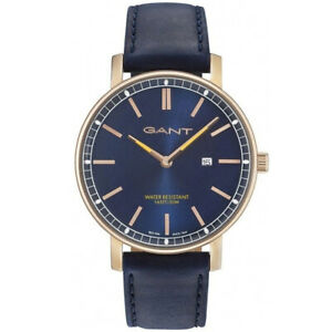 Gant-GT006021-Nashville-rosegold-blau-Leder-Armband-Uhr-Herren-NEU