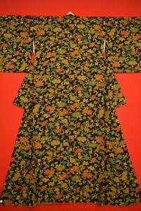 Vintage-Japanese-Silk-Antique-BORO-KIMONO-Kusakizome-KOMON-Dyed-YJ59-935