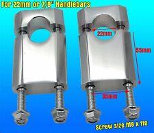 "CNC Silver Handlebar Bar Clamp Riser Taper 7/8"" 22mm  Dirt Bike ATV Quad 22mm"