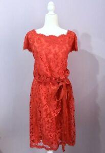 tadashi shoji size 18 red coral floral lace tie waist