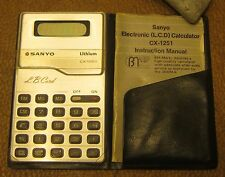 """Vintage SANYO Lithium Battery Calculator CX 1251 """"L.B. Card"""" w NEW BATTERIES!!"""