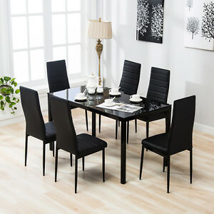 Image Is Loading 7 Pieces Dining Set Glass Table 6 Leather