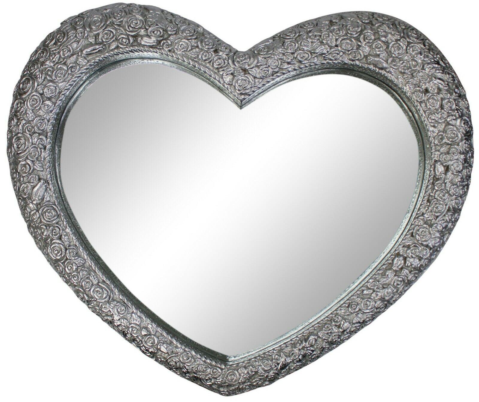 Groß Kunstvoll Antik Französisch Herzförmig Silber Wand Spiegel 77cm X 64cm