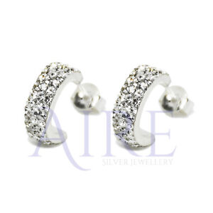 9ec8fa987 925 Sterling Silver Half Hoop Stud Earrings with Sparkling CZ Micro ...