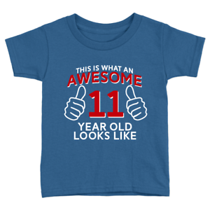 Awesome 11 Year Old Kids T-Shirt 11th Birthday Celebration Gift Cool Top