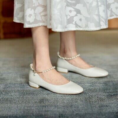 Details about  /Women,s Fashion Leather Crossover Buckle Strap Pearl Beaded Mary Jane Shoes OGOC