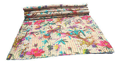 My Creation Handmade Cotton Kantha Bed Cover Hippie Bedroom Decor Kantha Gudri Ethnic Black Paisley Quilts Reversible King Size Indian Coverlets Bohemian Comforter Indian Kantha Coverlets