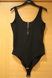 WOMENS-NEW-LOOK-CENTRAL-BLACK-FRONT-ZIPPED-TOP-SIZE-12