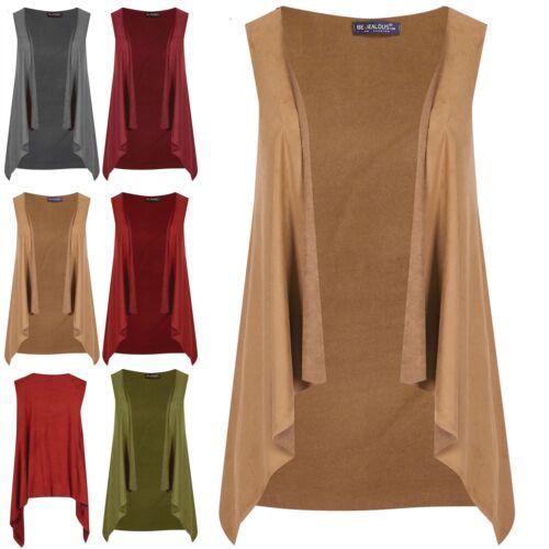 Ladies Raw Edge Trim Open Front Sleeveless Womens Jacket Coat Cardigan Plus Size