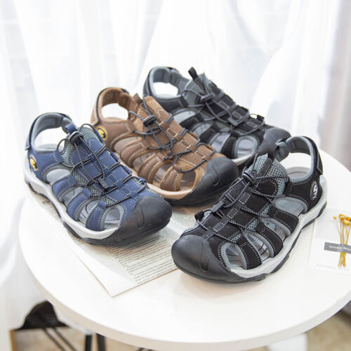Men/'s Summer Hiking Leather Sandals Wading Closed Toe Fisherman Soft Beach Shoes