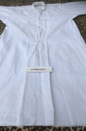 FRENCH VICTORIAN 1800s LONG SMOCK SHIRT~WHITE HOME