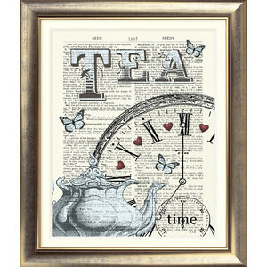ART-PRINT-ON-ORIGINAL-ANTIQUE-DICTIONARY-BOOK-PAGE-Tea-Butterfly-Hearts-Clock