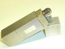 SOLID SILVER ART DECO STYLE PETROL WICK CIGARETTE LIGHTER - ENGINE TURNED - NICE