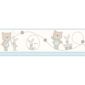 Decorline-Carousel-Bear-And-Boo-Wallpaper-Border-Blue-Bunny-Nursery-Baby-Boys