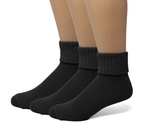 EMEM Women/'s Soft Ribbed Turn Cuff Cotton Ankle or Crew Socks 3-Pack Plus Size