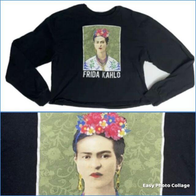 Frida Kahlo Licensed Ladies Top Shirt Size Large Cropped Long Sleeve Cotton