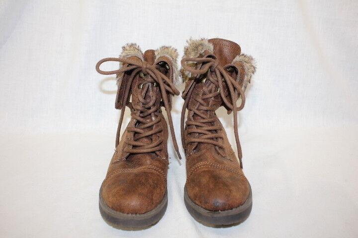 FALLS CREEK Brown Combat Style Boots,Faux Fur Lining & Zipper Heel Women, 9-B122