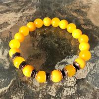 8mm Yellow Jade Wrist Mala Beads Healing Bracelet