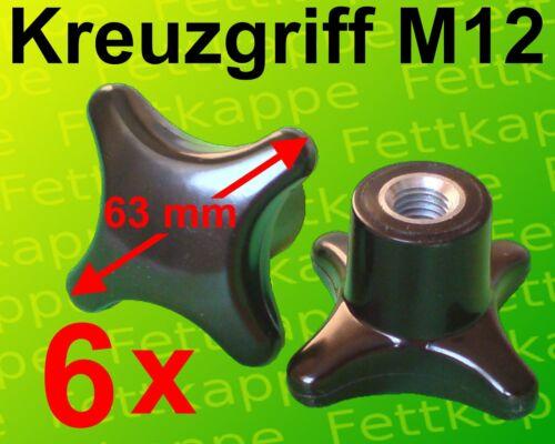 Kreuzmutter Feststellmutter Kreuzgriff 6 x Kreuzgriffmutter M12 Griff Ø 63 mm