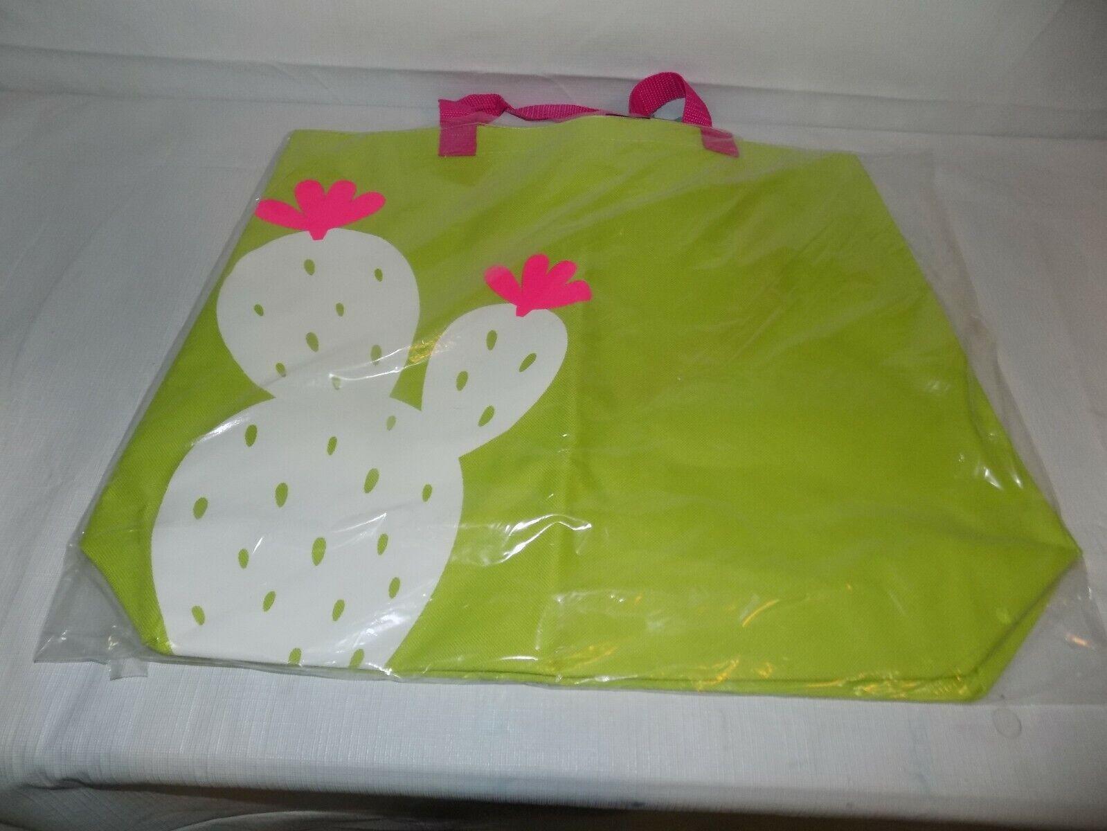 Studio Paradise Canvas Beach Tote Bag Cactus Lime Green 19.5