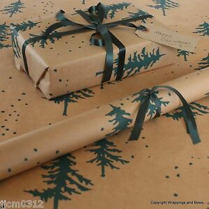 Image Is Loading Winter Forest Green Christmas Patterned Kraft Brown Wring