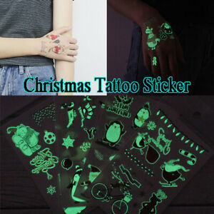 Luminous-Glow-In-The-Dark-Christmas-Tatoo-Fluorescent-Tattoos-Stickers