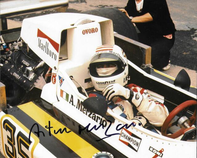 Arturo Merzario firmata 10x8 F1 MARZO-Cosworth GP BRITANNICO 761, marche Hatch 1976