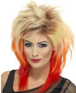80 S Rouge Punk Rocker Perruque Femmes Déguisement Rock Star Diva 1980 S Costume Acc
