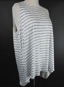 9d842df73c Ava   Viv Tunic Knit Tank Top Hi Lo Hem WHITE Blue Stripe Size Plus ...