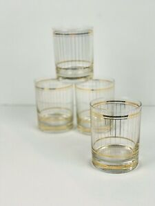 Vintage-Set-4-Culver-USA-Gold-Devon-Stripes-Double-Old-Fashioned-Glass-Tumblers