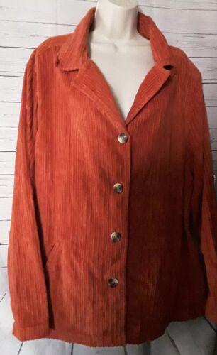 Dressbarn Womans Cordoroy Jacket Size 2X Rust Oran