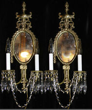 2 Shabby Vintage French design Mirror Crystal Sconces lamps crystal Bronze Brass