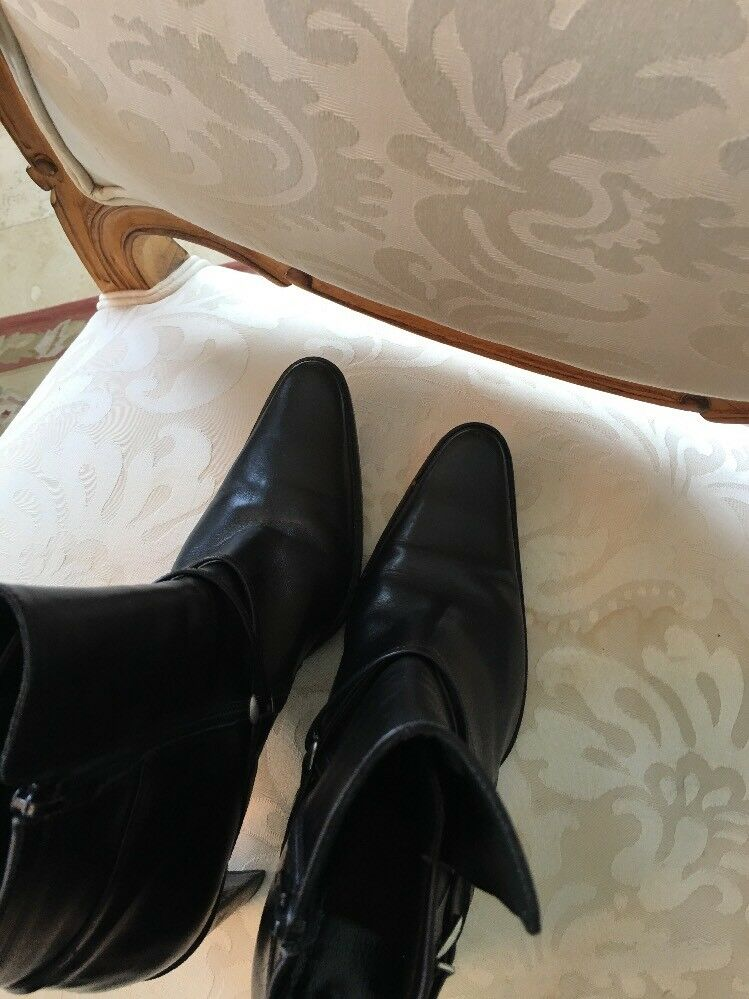 Goffredo Fantini Black Leather Ankle Ankle Ankle Boots Heels Size 8 a60bd2