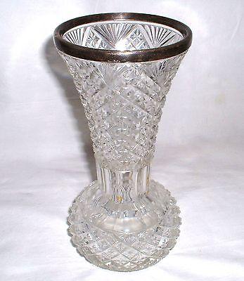 2019 Neuer Stil Beschliffene Kristall Vase Mündungsrand 800er Silber Darmstadt Halbmond Krone