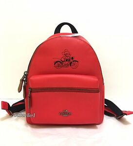 b732df7c7f5 New COACH F59837 Disney X Mickey Mouse MINI Charlie Leather Backpack ...
