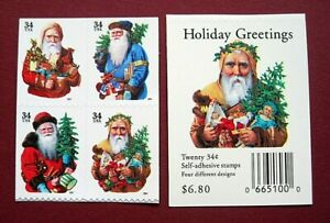 Sc-3537b-3540e-Booklet-Block-of-4-34-cent-Holiday-Santas-Issue-df26