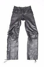 "Black Leather Lace Up Biker Motorcycle Trousers Pants Jeans Size W28"" L31"""