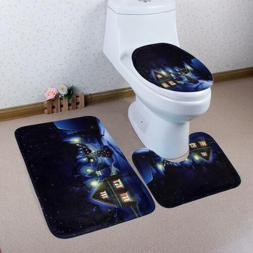 3Pcs Christmas Bathroom Non-Slip Floor Carpet Rug+Lid Toilet Cover+Bath Mat Set